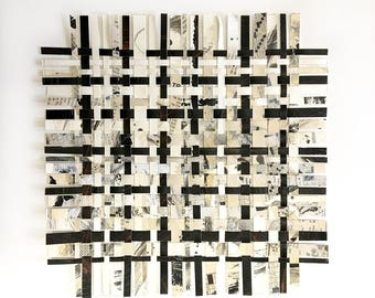 Crossword Paper Weaving- Mixed Media- Abstract Art- Woven Paper- 12x12- Woven Decor- Upcycled Puzzles- Black White, Beige, Grey