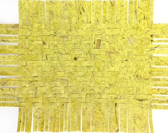 Green Paper Weaving- Abstract Paper Art- 17x13- Twill Weave- Pantone 390- Chartreuse- Mulberry Papers