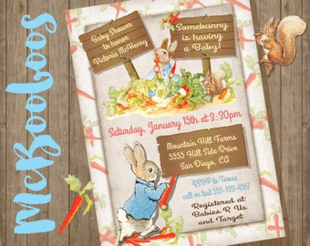 Peter Rabbit Beatrix Potter Baby Shower invitation or Birthday party