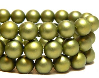 8mm Green Shell Pearls, 8mm Green Pearls, 8mm Olive Green Beads, Moss Green Beads, Green Beads, Green Shell Pearls, Round Pearls, B-58D