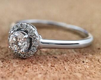 14K White Gold Diamond Halo Ring - .36tw