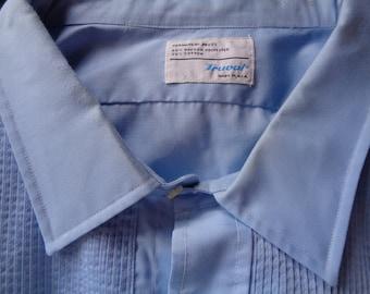 Vintage formal tuxedo shirt blue XXXL