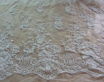 Silk lace fabric,cotton embroidery on 100% silk fabric,wedding dress fabric,one side  embroidery,lace chiffon,embroidery chiffon-ZSME0014