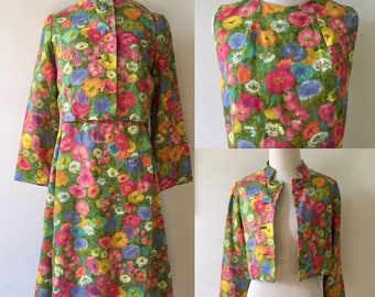 S/M 1960s Floral Dress and Jacket  Two Piece Suit