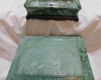 Lovely Vintage Marbled Green Celluloid Plastic Jewelry Box and Dresser / Trinket Box