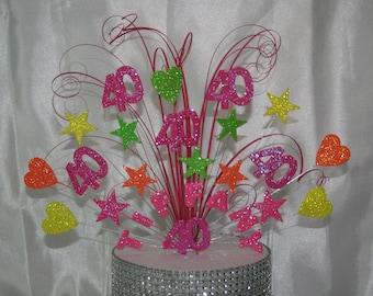 0023 Neon Cake Topper  Cake Decoration, Cake Spray, Explosion, Birthday, Anniversary, Any Age, Any Name, Any Colour
