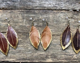 Leather Feather Earrings Gold Painted Tips, Wine, Brown and Chocolate Brown Western Chic, Leather Earrings, inspired by Joanna G