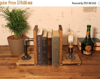 25% OFF SALE Industrial Bookend Lamp - Steampunk Lamp - Table Lamp - Edison bookend Lamp - Vintage Light - Pipe Lamp - Bedside Lamp - Rustic