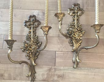 Vintage Syroco Wood Candlelabras  Sconces A Pair