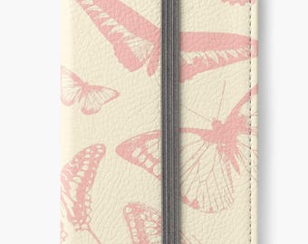 Folio Wallet Case for iPhone 8 Plus, iPhone 8, iPhone 7, iPhone 6 Plus, iPhone SE, iPhone 6, iPhone 5s - Pink Vintage Butterflies