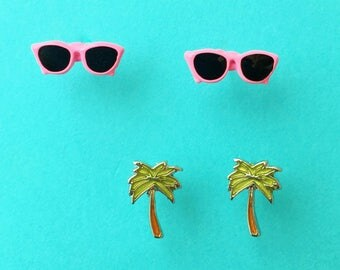 "Fun In The Sun Collection ""California Girl"" Dainty Minimalist Hot Pink Sunglasses and Palm Tree Earring Set - Summer Earrings Minimal"