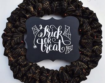 Halloween Spiderweb Wreath - LED Lights Orange Black Spiderweb Trick Or Treat Halloween Burlap Wreath