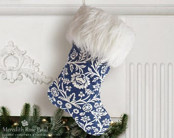 Floral Christmas Stocking, Floral Stocking, Floral Stockings, Blue and White Floral Stocking