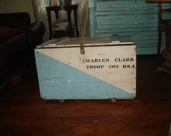 CLEARANCE SALE 50 % OFF antique wood trunk/ antique military trunk / boy scout trunk / foot locker/ coffee table / bench