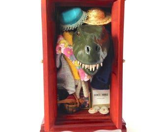 T-rex dinosaur in miniature closet