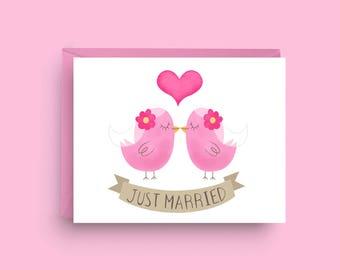 Love Birds, Lesbian Wedding Card, Gay Engagement Card, Newly Wedded Couple, Card for Gay Wedding, Card for Bride, Gay Wedding Shower