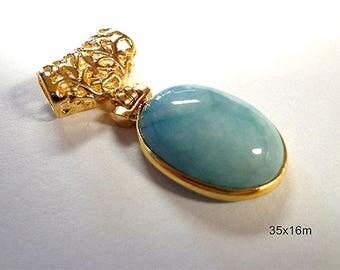 Beautiful Natural Larimar Gemstone with Slider Bail Pendant!!!