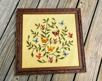 Vintage butterfly and flower cross stitch wall art framed wall art ready to ship