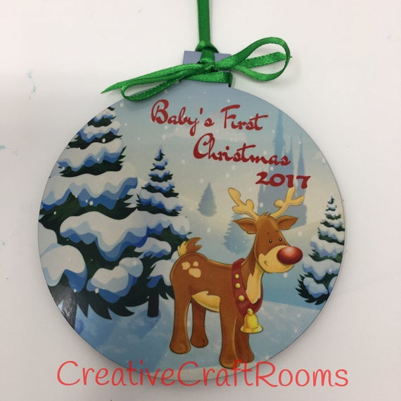 Baby's First Christmas Ornament, Reindeer ornament, Personalized ornament, Personalized Baby's 1st Christmas Ornament