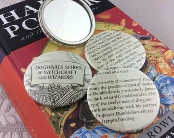 Harry Potter Handbag Mirror, Pocket mirror, Book page vanity mirror, COME ON!