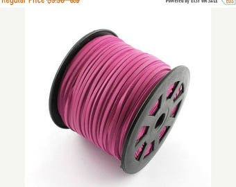 50% OFF Clearance Sale-- Hot Pink Faux Suede Cord Leather Like 3mm ( No.09)