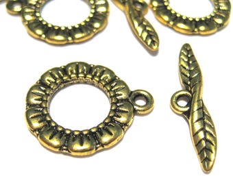 10 Sets Antique Gold Round Toggle Clasp Double Sided