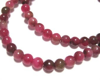 1 Strand Red Natural White Jade Dyed Stone Beads 4mm Round