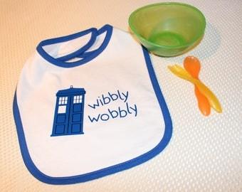 Doctor Who Baby Bib, Tardis Wibbly Wobbly Bib, Dr Who Baby Bib, Wibbly Wobbly Tardis