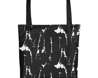 Tote bag | black and white tote | abstract pattern tote | grocery bag | shopping bag | canvas tote bag |carry all bag | tote | bum bag |