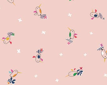 Fabric - Dashwood studios - Club Tropicana, pink bird - medium weight woven cotton fabric.