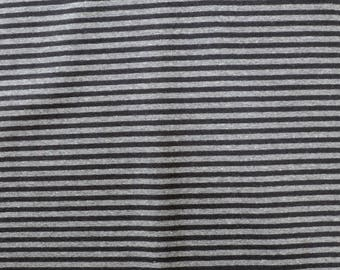 Fabric - Cotton/elastane stripe rib fabric - 270gsm - black/grey