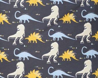 Fabric - cotton/elastane medium weight jersey fabric - charcoal dinosaur print - knit fabric.