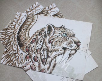 "postcard ""the book of strange creatures"" - snow smilodon"