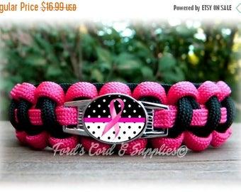 CIJ SALE Breast Cancer Awareness Paracord Bracelet, Survival Bracelet, Womens Bracelet, Ladies Bracelet, Girls Bracelet, Pink Ribbon