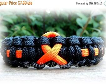 CIJ SALE Orange Awareness Ribbon Bracelet, Paracord Survival Bracelet, Leukemia, Multiple Sclerosis, Kidney Cancer, Skin Cancer, Motorcycle