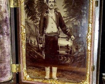 Antique Victorian Civil War Era 4th Plate Tintype Zouvae Drummer Soldier In Union Case