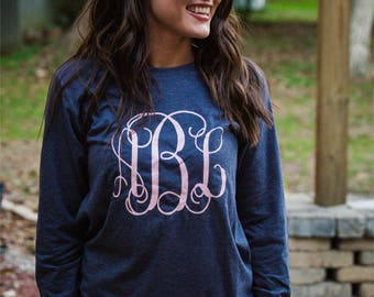 monogrammed shirt, monogrammed longsleeve, monogrammed tee, personalized shirt, gifts under 20
