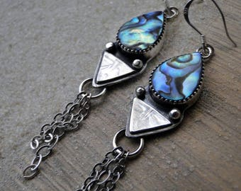 Liquid Riot Abalone Earrings, Abalone Shell Earrings, Sterling Silver