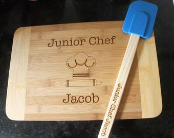 Kid's cutting board and spatula set, personalized engraved cutting board & spatula, kid baking set, kid cooking gift set, child baking gift