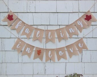 Falling In Love Banner, Fall Bridal Shower Decor, Fall Bridal Shower Banner, Falling In Love Shower, Fall Engagement Party, Fall In Love