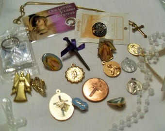 SALE Vintage Religious Jewelry collection, medals, rosary, Angels, Catholic items, tokens, Gingerslittlegems