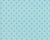 Nest Fabric by Lella Boutiquee for Moda, #5065-15, Robins Egg Blue with Darker blue X - IN STOCK