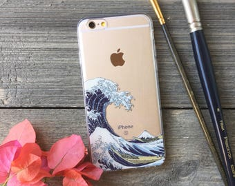 Hokusai Great Wave Phone Case for iPhone 5, SE, 6, 6 Plus, 7, 7Plus, 8, 8 Plus and X. TPU or Wood Options