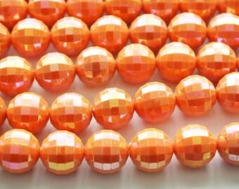 Orange Disco Ball Chunky Acrylic Beads - 18mm - 17 beads - D229