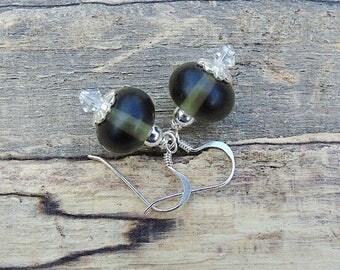Smokey grey lampwork glass sterling silver earrings