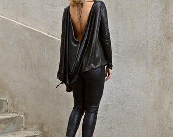 SALE 15% OFF Black Asymmetrical Tunic / Black Ponte Di Roma Tunic / Black Backless Top / Backless Loose Top TT70