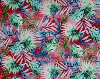 Timeless Treasures Fabric Collections - Oasis Tropical Leaves Fuchsia | PRE-ORDER Fabric | Quilting, Sewing, Apparel, Home Decor