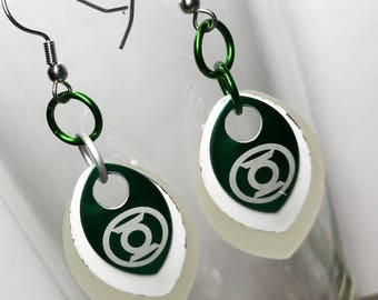 Handmade Green Lantern Glow in the Dark Scalemaille Earrings