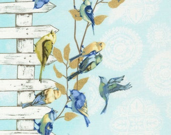 1/2 Yard Timeless Treasure Fly Away Birds on a Fence Stripe C5623 designed by Janelle Penner