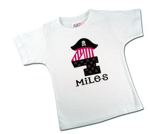 Boy Pirate Birthday Shirt with Number and Embroidered Name